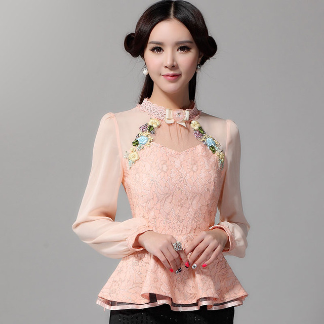 2016 New Fashion Brand women tops Fashion long-sleeved Sexy Lace shirt Plus size Embroidered Appliques women blouse shirt