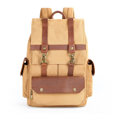 M204 Vintage Fashion Backpack Leather Military Canvas Backpack Men Women School Backpack 15