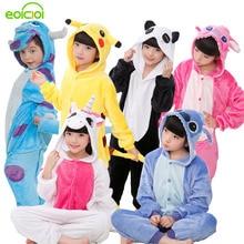 Купить с кэшбэком Christmas pajamas Kids Boys Girls pijama Children's Onesie Cosplay Animal Totoro unicornio Pikachu Dinosaur Panda pyjama enfant