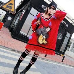 Vrouwen dieptepunt trui vrouwelijke lange sectie Slim 2018 nieuwe Europese station meisje gaas Europese goederen lange mouw losse trui