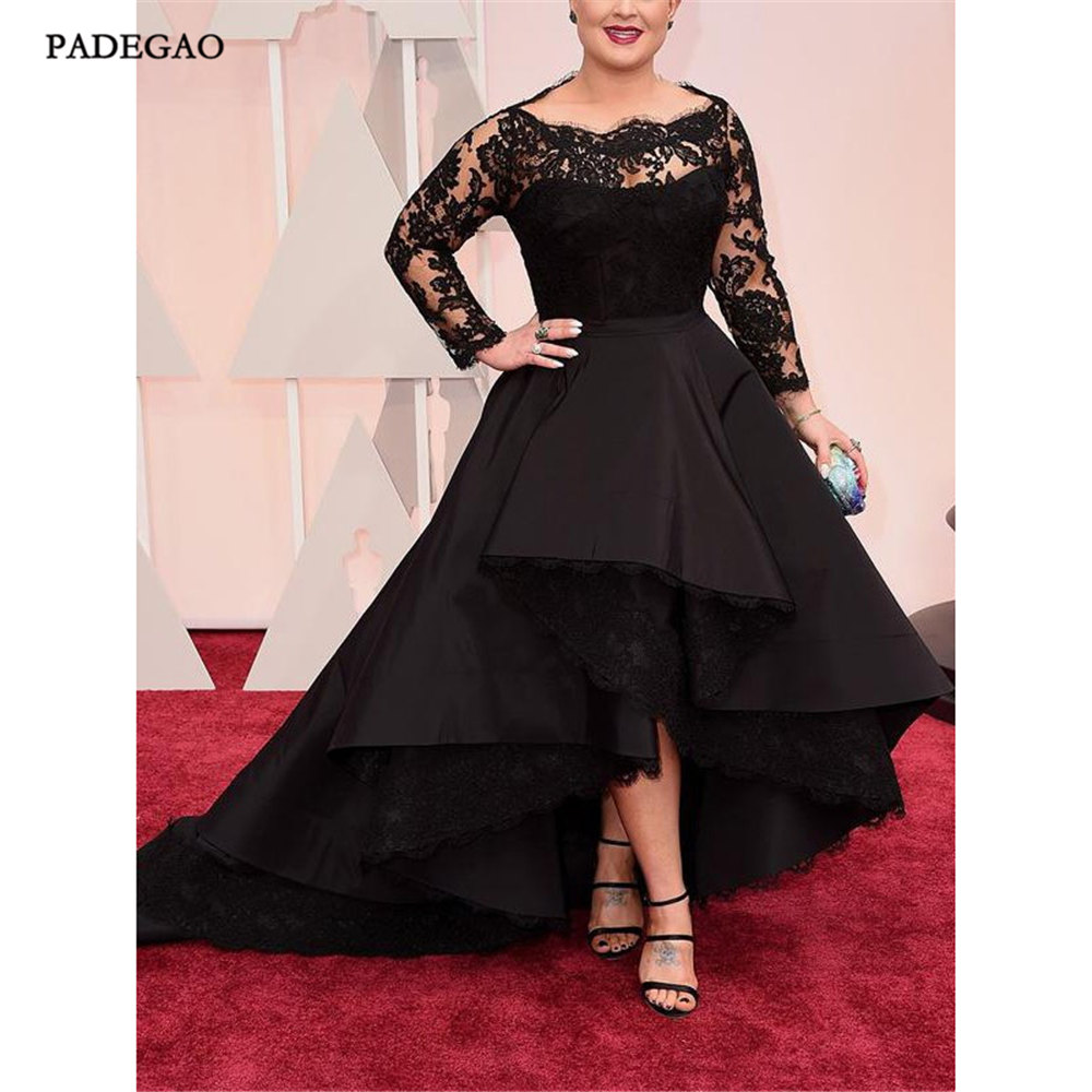 Fashion Black   Evening     Dresses   with Lace Long Party   Dress   A-Line Full Sleeves Stain Floor Length Open Back t   Evening     Dress