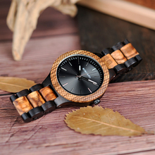 BOBO BIRD LD30-1 Wholesale Classical Men's Wood Timepieces Watch Custom Logo Wrist Watches Men with Grid Bezel Erkek Kol Saat