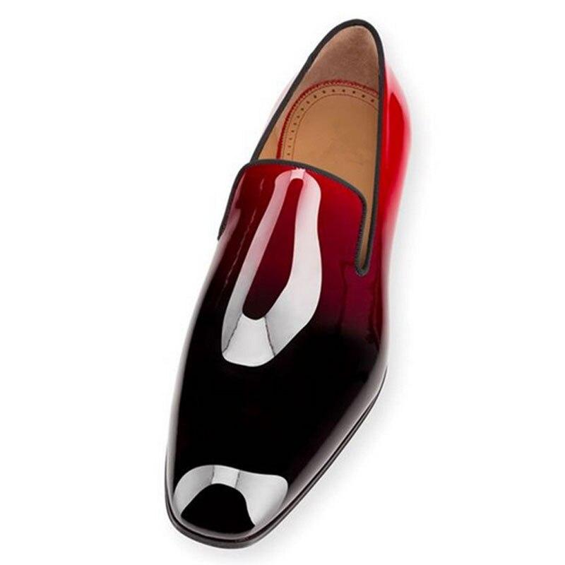 Мужская повседневная обувь наивысшего качества в сдержанном стиле с красной подошвой, туфли на плоской подошве с одуванчиком, черные лакир...