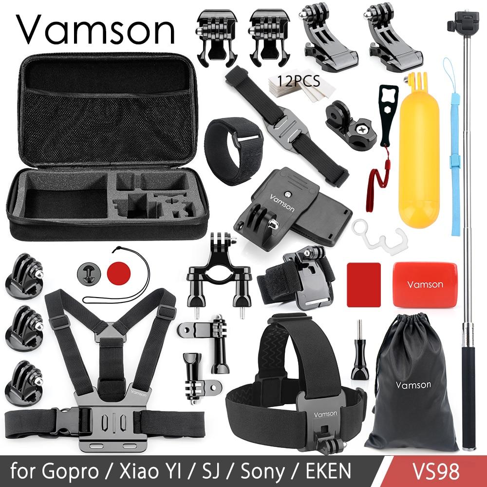 Vamson Pour GoPro Hero6 5 4 3 + Accessoires Ensemble Flottant Bobber Main Manfrotto Tête Sangle De Poitrine Adaptateur Pour Aller pro pour SJ4000