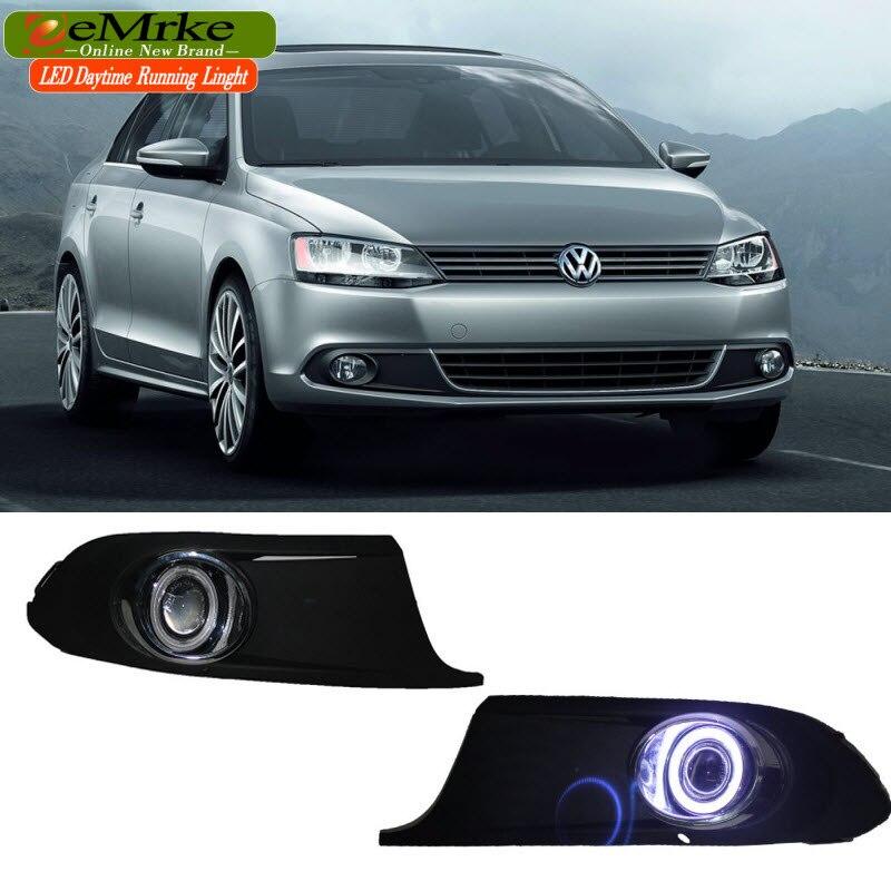 eeMrke LED Angel Eyes DRL For Volkswagen VW Jetta 2010-2016 Daytime Running Lights Tagfahrlicht Halogen Bulbs H11 55W Fog Lights