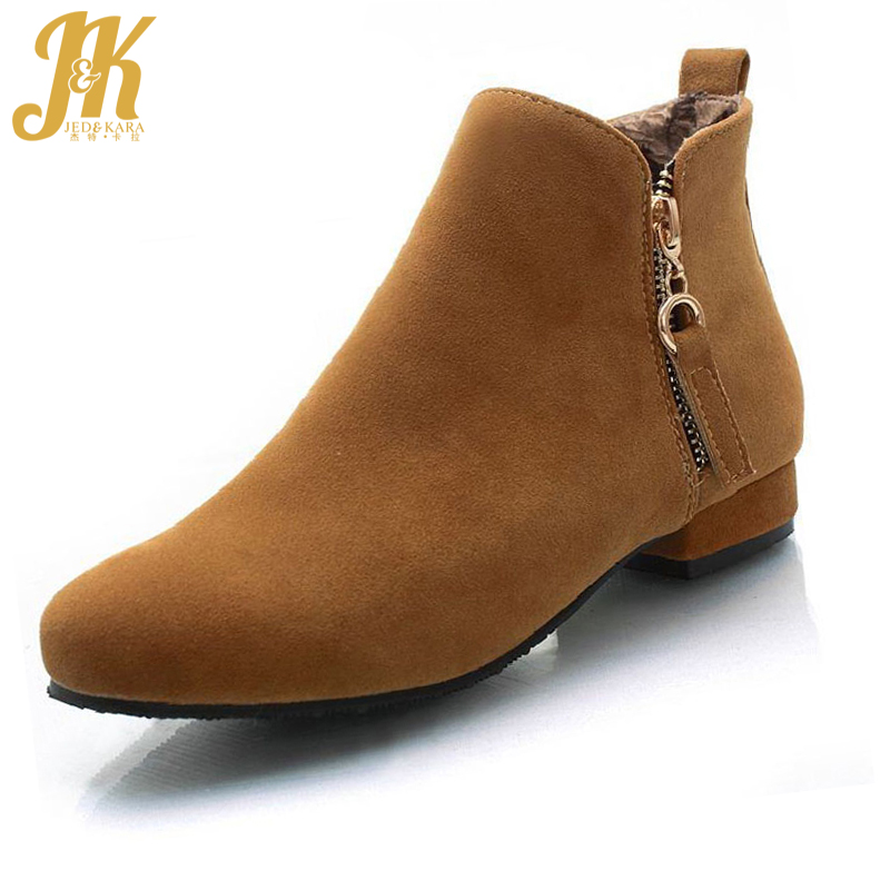 2017 Colors Big Size 33-43 Concise Ankle Boots for Lady Add Fur Autumn Winter Low Square Heels Easy Shoes Woman Casual Shoes big size 34 43 lady s ankle boots women add fur fall winter boots platform square high heels rubber sole shoes woman