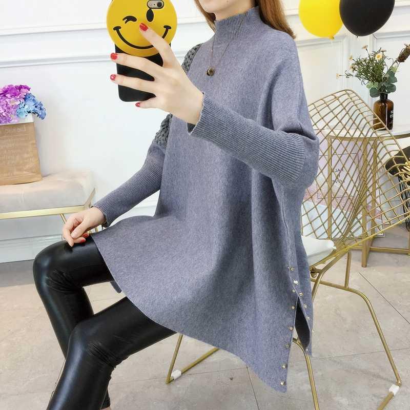 여성 스웨터 pullovers 2019 가을 대형 느슨한 망토 코트 봄 박쥐 긴 소매 중공 스웨터 터틀넥 니트 스웨터