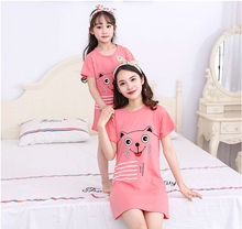 summer daughter mother pajamas lovely Cartoon cotton short-sleeved nightdress suit family clothing