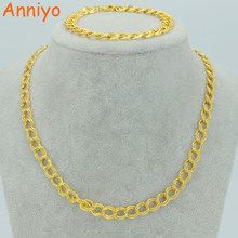 Anniyo Thin Chain Necklace Bracelets for Women,Gold Color Fashion Africa Jewelry set (50cm Necklaces,21cm Bracelet) #040006(China)