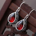 Pavilion silver color wholesale woman 925 Sterling Silver Earrings Earrings Vintage Sterling Silver Jewelry garnet