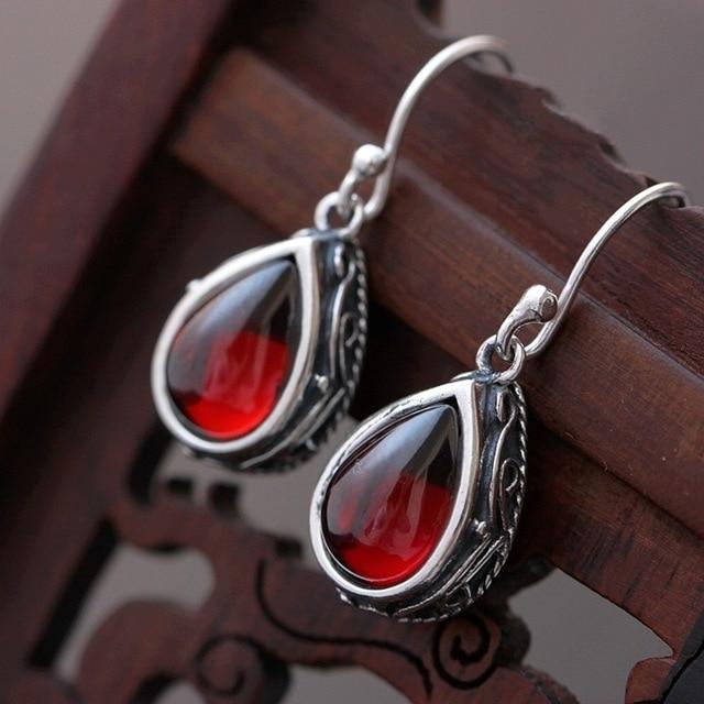 Pavilion silver color wholesale woman 925 Sterling Silver Earrings Earrings Vintage Sterling Silver Jewelry garnet