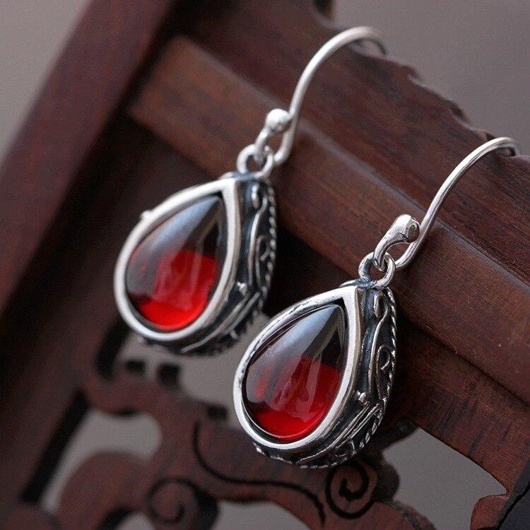 Boucles d'oreilles en argent Sterling, bijoux en argent Sterling Vintage grenat
