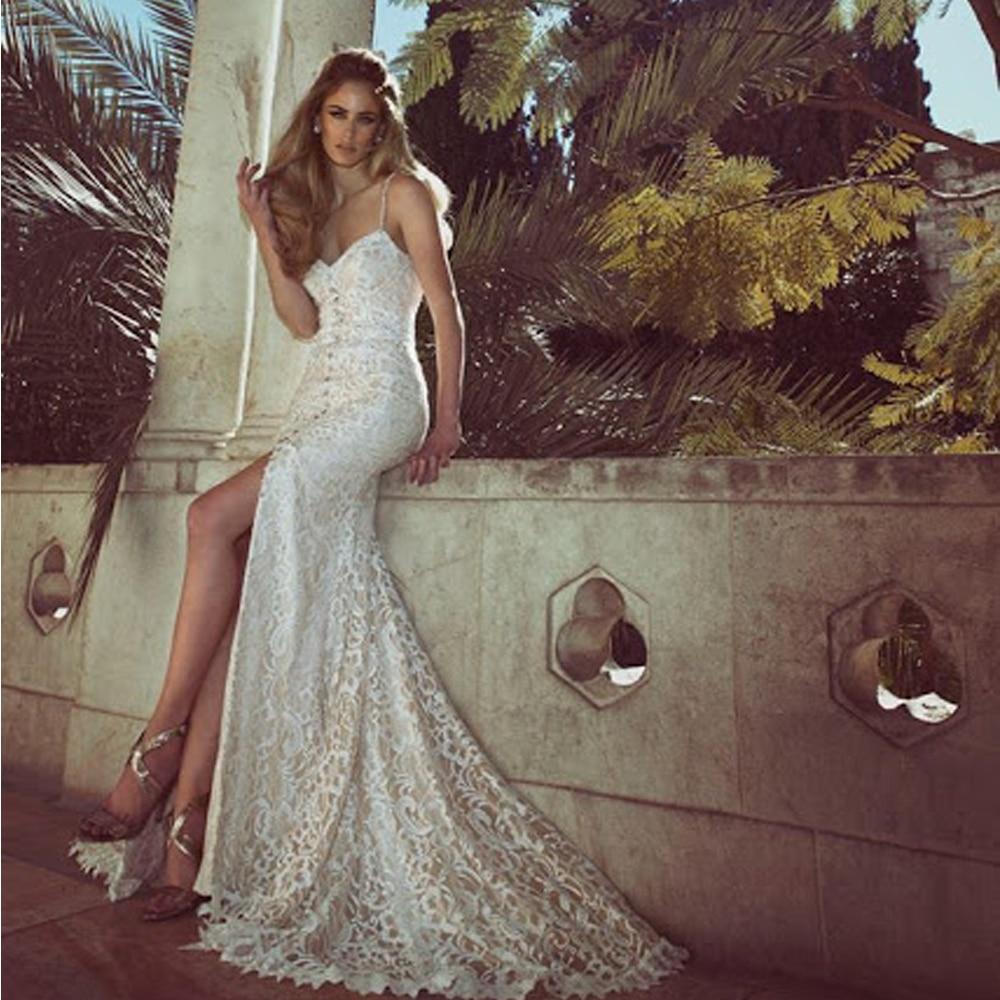 Beach Spaghetti Strap Wedding Gown: Sexy Spaghetti Strap Lace Ivory Bridal Wedding Dress 2017