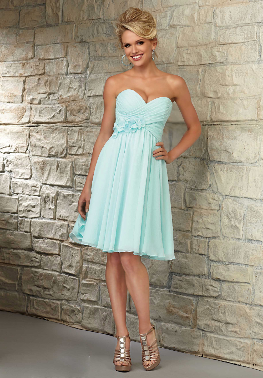 Mint Green Turquoise Short Chiffon Bridesmaid Dresses 2016 Beach