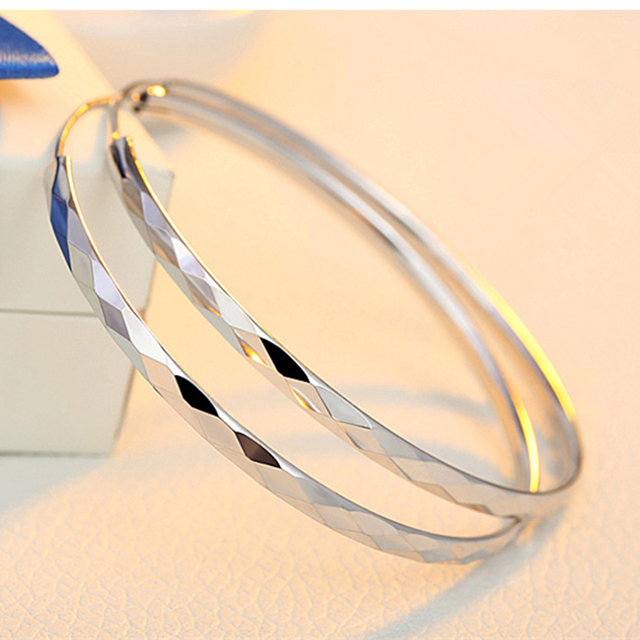 Real 925 Sterling Silver Hoop Earrings Shiinng Bright Fashionable Bangles For Woman S 30 40
