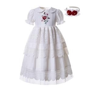 Image 1 - Pettigirl biały haft kołnierzyk dla lalek kwiat dziewczyna komunia jednolity kolor, długi Party warstwy sukienka B455 (długość sukni pod kolanem)