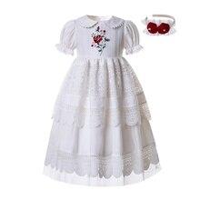 Pettigirl branco bordado boneca colar flor menina comunhão festa sólida longo camadas de festa vestido b455 (comprimento do vestido sob o joelho)