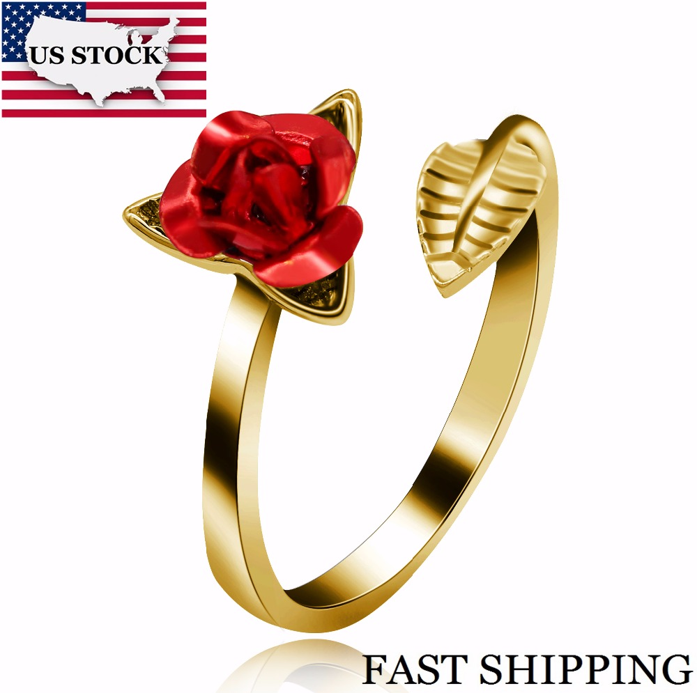 US STOCK Uloveido Rose Flower Ring for Women, Wedding Engagement Jewlery, Silver Gold Color, Adjustable, Open Leaf Ring, y452(China)