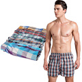 4pcs/Lot Loose Shorts male panties  Cotton  Plaid  men underwear  Cuecas boxers  Shorts Underpants