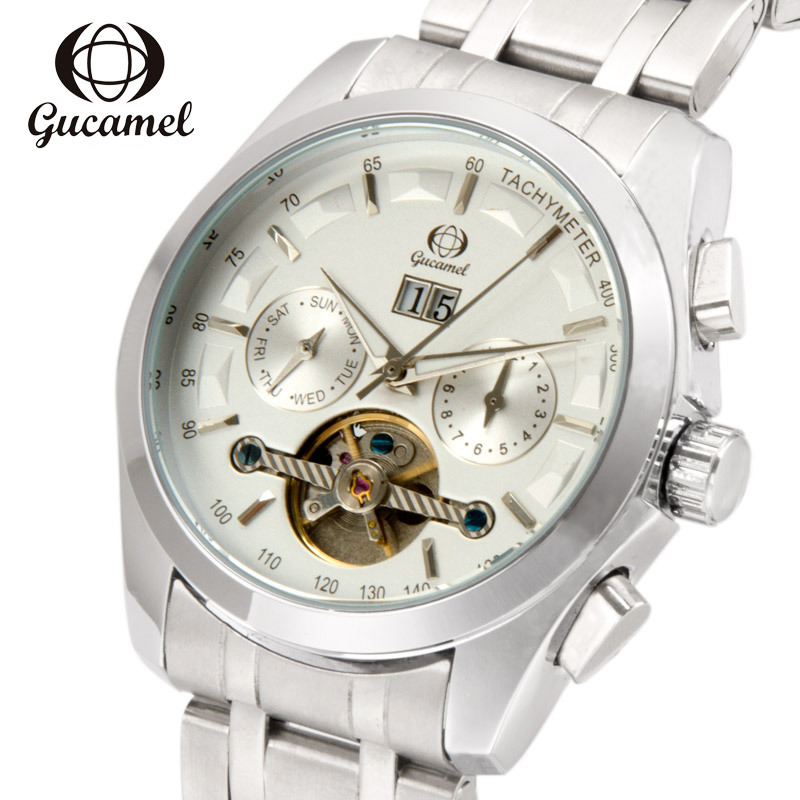 GUCAMEL Brand Automatic Self Wind Mens Watch Mechanical Tourbillon Stainless Steel Male Waterproof Watches Business Dress Clock
