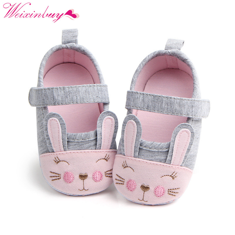 Newborn Baby Girl Shoes Spring Cartoon Rabbit Cotton Baby Shoes First Walkers Comfort Casual Baby Girl Shoes