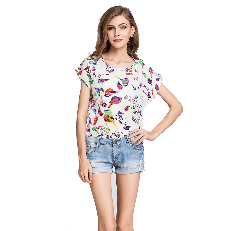 Colorful Chiffon Wome T-shirt Fashion Summer Flora Print Shirt For Women Plus Size O-Neck Short Sleeve Women Tops