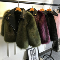 Girl Fur Coat Jacket Imitation Fox Artificial Fur Grass High Quality Plush Leather Fake Two Pieces