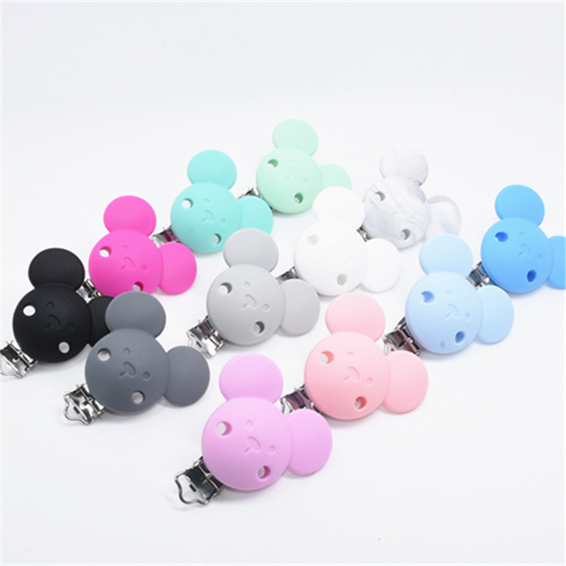 1 PC Pacifier Holder For Silicone Pacifier Clip For Nipple Infant Baby Mickey Shape Teether Metal Dummy Clips Chains