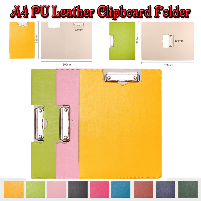 A4 leather PU clipboard file folder metal clip writing pad hanging padfolio folders business document file holder filing product ruize multifunction pu leather folder organizer padfolio soft cover a4 big file folder contract clamp with notepad office supply