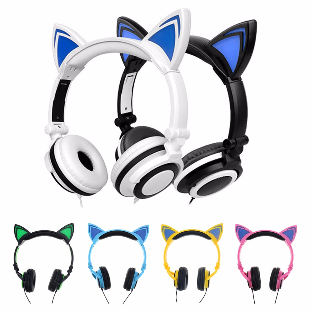 MIndkoo Foldable Flashing Glowing cat ear headphones Gaming <font><b>Headset</b></font> Earphone with LED light For PC Mobile Phone