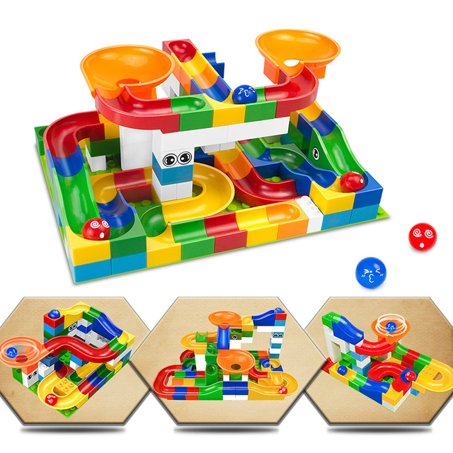 52pcs Marble Race Run Building Blocks Big Size DIY Blocks Educational Bricks Maze Balls Track Blocks Toys For Children Kids Gift