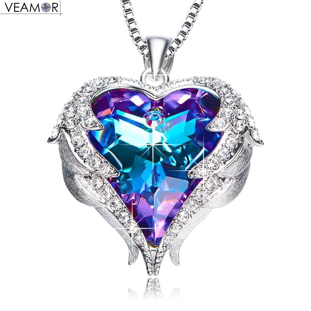 Veamor Angel Wings Necklaces Purple Crystal Heart Pendant Necklace Best Gifts For Women Girls Austria Crystals Fashion Jewelry stylish rhinestoned heart faux crystals beads tassel pendant necklace for women