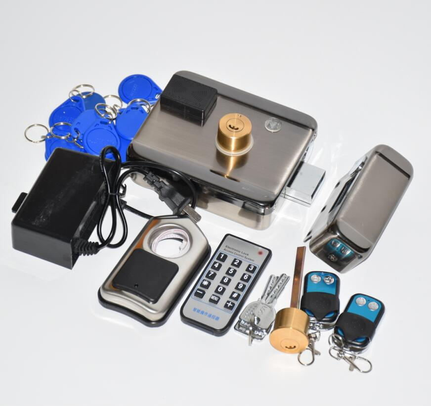 2 remote controls battery power /12VDC 13.56MHZ IC RFID Reader electric Gate Door Lock Access Control System kit with 10tags lpsecurity battery powered 12vdc 13 56 ic rfid reader electric gate door lock access control system kit with 10tags or tm tag
