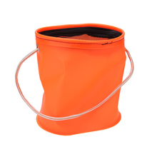 Outdoor Portable EVA Canvas Bucket Folding Bucket Portable Camping Hiking Fishing Tackle Storage Tools Orange Diameter 18cm 7in