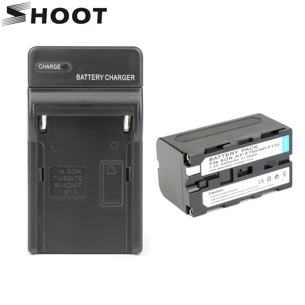SHOOT NP-F750 NP F770 F750 NPF750 NPF770 Battery Pack For Sony NP-F750 NP-F770 Camcorder LED Video Light With Recharge Charger