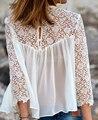 Mulheres Floral Chiffon blusa camisas Tops camisa blusa de renda blusa