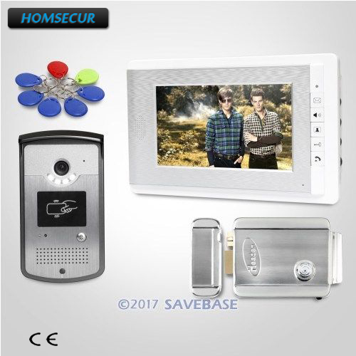 HOMSECUR 1V1+Electric Lock 7inch TFT Video Door Phone Intercom System with LCD Color Screen for Home Security intercom system for home 7inch color ccd camera video intercom with electric lock door phone intercom video bell ip65 waterproof