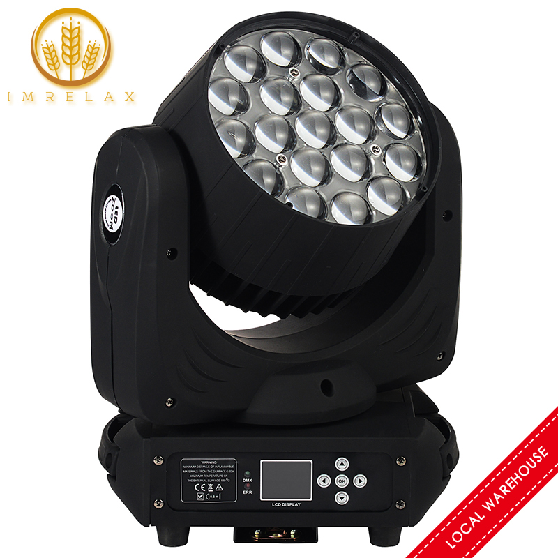 IMRELAX High Quality 19*15W Osram RGBW 4in1 LED Moving Head Light Perfect Zoom Wash Moving Head DMX DJ Stage Disco Light