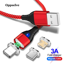 Oppselve LED Magnetic USB Cable, Magnet Plug & Type C Cable Micro For iPhone XS Max XR X 8 7 6 Plus