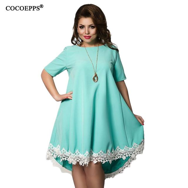 COCOEPPS Women Large Size Patchwork Tassel Dress 2018 Casual Loose Plus Size Female Clothing L-6XL Blue Red Chiffon vestidos 6XL