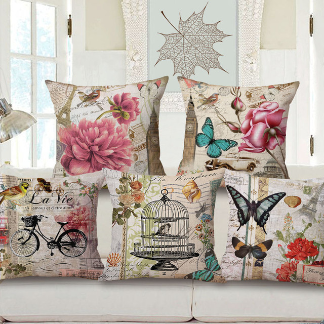 Wholesale Wedding Gift Fashion European Retro Floral Stamp Butterfly  Decorative Cushion Cover Home Car Sofa Decor