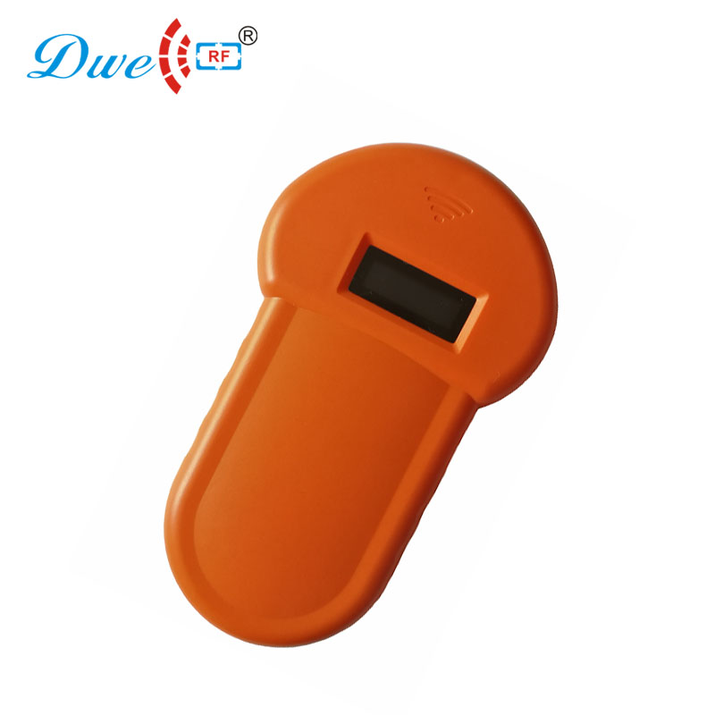 DWE CC RF rfid control card reader mini 134.2khz OLED display portable microchip scanner ...