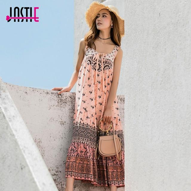 5f7aaec454a13 US $54.27  Jastie Lionheart Midi Dress Floral Print Spaghetti Strap Dress  Women Vestidos Rayon Casual Beach Dresses Boho Summer dresses2018-in  Dresses ...