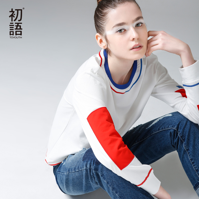 Toyouth Female   T  -  shirt   Hit Color Cotton Long Sleeve   T     Shirts   Women Autumn Casual Round Neck Patchwork Tee   Shirt   Femme