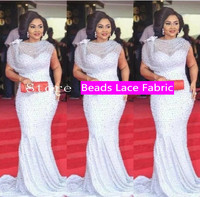 Best Selling African Lace Fabric With Beaded Nigerian French Fabric 2017 High Quality African Tulle Lace