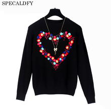 2017 Autumn Winter Sweater Women Floral Love Embroidery Black Pullover Luxury Brand Designer Runway Sweaters Jumper Pull Femme