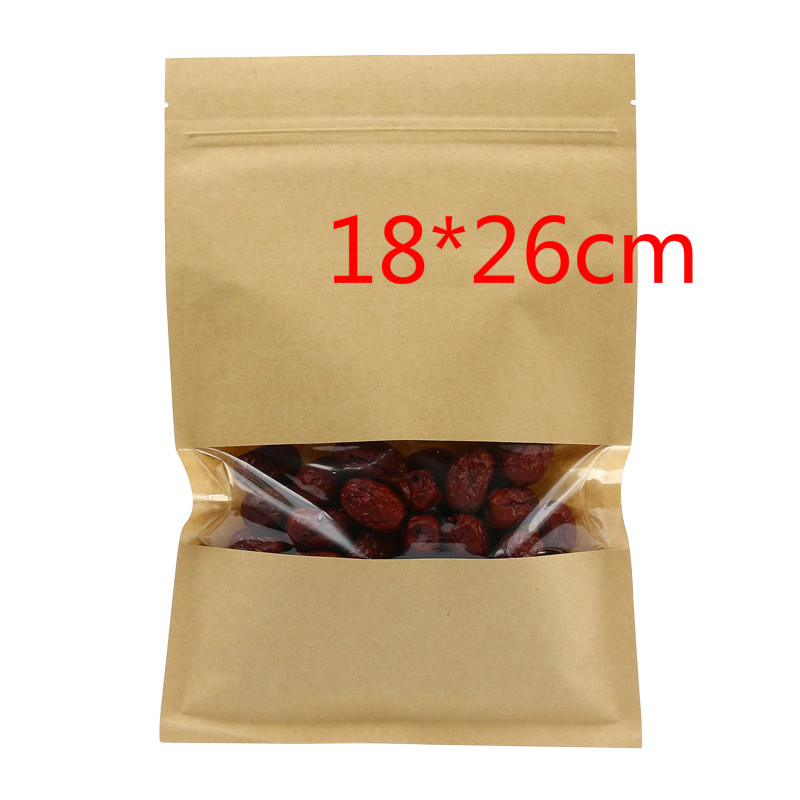 50Pcs/ Lot 18*26cm Bean Snack Tea Heat Seal Kraft Paper Poly Packaging Pouch 7.08x10.23 Zipper Lock Package Bag With Window