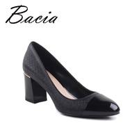 Bacia Genuine Leather Shoes Woman 6 9cm Round Toe Square Heel Black Pink Handmade Big Size