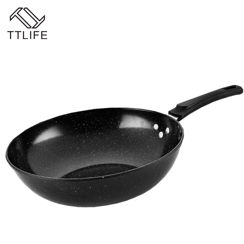 TTLIFE 32CM Cooking Pots Healthy Oil-free Not Sticky Pot Smokeless Wok Sets Gas Electromagnetic Cooker Universal Glass Cover