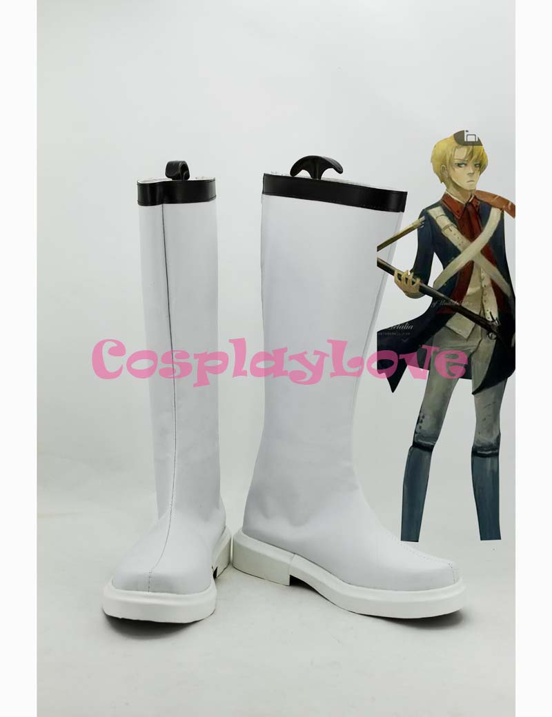 Custom White American Cosplay Shoes Loong Boots from Axis Powers Hetalia Cosplay For Halloween Christmas